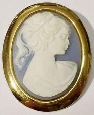 broche bijou vintage année 70 camée bleu buste femme couleur or * 5297