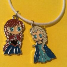 DISNEY FROZEN Anna & Elsa NECKLACE CHARM with leather cord GIFT SET