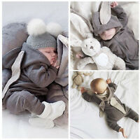 Newborn Infant Baby Girl Boy Rabbit 3D Ear Warm Romper Jumpsuit Outfits Clothes