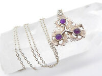 Vintage Scottish Sterling Silver & Amethyst Thistle Pendant Necklace