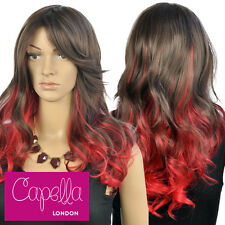 Celebrity Long Wavy Brown Red Layered Ombre Wig Hair