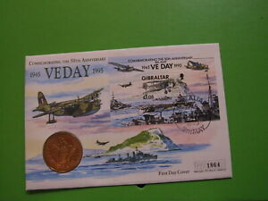 MERCURY BU COIN COVER VIRENIUM FIVE POUND £5 1995 GIBRALTAR VE DAY . SEE POSTAGE