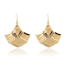 Stunning Long Gold Plated Art Deco Hook Dangle Statement Earrings