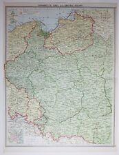 1920 LARGE MAP GERMANY EAST CENTRAL POLAND WARSZAWA POZNAN BIALYSTOK KRAKOW