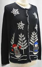 MERCER STREET STUDIO petite Christmas Holiday cardigan sweater sz PM 3D snowmen