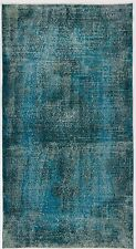 4x7 Ft Teal Blue color OVERDYED Handmade Vintage & Modern Turkish Rug d501