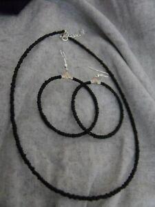 GLASS  BEADED choker NECKLACE & hoop EARRINGS black
