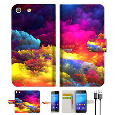 Colorful Cloud Wallet TPU Case Cover For Sony Xperia M5 -- A021