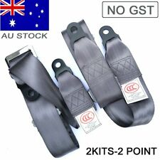 For AU Toyota 2 Point Seat Lap Sash Belt Strap Kit Rear Passenger Gray Universal