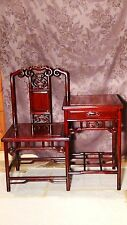 FINE CHINESE CARVED ROSEWOOD CARVED TELEPHONE TABLE,STAND WITH  DRAWER AND CHAIR