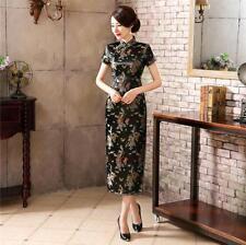 BLACK Chinese Tradition Qipao Women Long Evening dress Cheongsam Plus size S-6XL