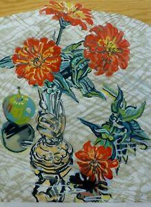 "Janet Fish "" APPLE & ZINNIAS ""1995 Lim.Ed.53/65 Hand signed Lithograph US Artist"
