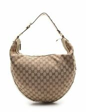 GUCCI GG canvas shoulder bag canvas leather beige white
