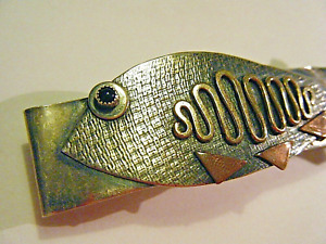 MH France Vintage Modern Mix Metals Onyx Fish Hair Barrette Sterling Silver