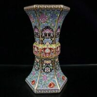 China Porcelain Draw Gold Colour Enamels Flowers and Plants Flower Angle Vase