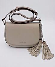 NWT Michael Kors Elyse Gray Leather Tassel Saddle Crossbody Shoulder Bag $298