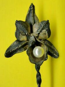 Vintage Venezuela Coin Bowl Spoon Orchid Finial Baroque Pearl 835 Silver