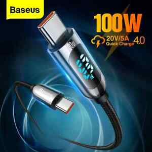 Baseus LED Display Type C to Type C 100W 5A PD Braided Cable Fast Charge Data 1m