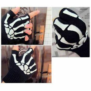 Punk Gloves Skull Bone Skeleton Goth Glove M3U9 GREAT