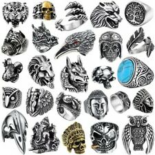 Cool Skull Man Ring Bands 316L Stainless Steel Steam Ram Men Punk RING Gothic