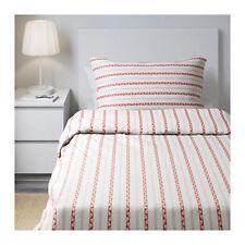Ikea Parlhyacint Single Duvet / Quilt Cover & Pillowcases - White/Red 402.614.39
