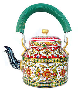 White hand Painted Teapot Cattle Marble looking Multi color tea serving pot