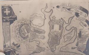 Citta E Fortrezza di Malta. Old map postcard. Fair condition - ink marks. Unused