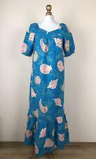 Hilo Hattie Hawaii Vintage Blue Seashell Muumuu Maxi Dress Women's Size Small S