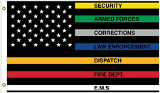 COLORED FIRST RESPONDERS AMERICAN FLAG #795 FLAGS 3X5 POLICE FIRE EMT
