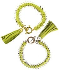 NISSA Jewelry Leather Tassel Bracelet Lime / Gold   7.5""