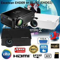 7000 Lumens FHD 1080P 3D LED LCD Projector Multimedia Home Theater USB HDMI AV