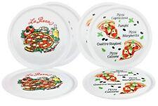 6er Set Pizzateller Motiv Design 32cm Porzellan weiß Pizza Pasta Teller Neu