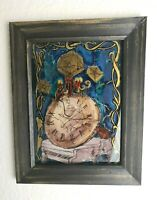 Gemälde Wandbild Zeit Uhr Vintage Holzrahmen handgemalt Unikat RAR!
