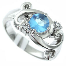 Ladies AquaMarine Stones Silver Rhodium Plated Ring Size 8