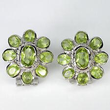 Sterling Silver 925 Stunning Genuine Natural Apple Green Peridot Gem Earrings