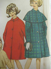Vintage Simplicity 5568 COAT w/ DETACHABLE HOOD & CAPE Sewing Pattern Girl Sz 8