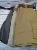 LEE Men's Big & Tall Dungarees Belted Wyoming Cargo Short Khaki, Bourbon or Gray