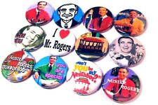 "12 MR ROGERS Buttons Pinbacks 1"" Pins Badges Retro 70s TV Show Neighborhood FRED"