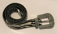 Womens Stud Embellished Belt Diamond Beads Leather Belt White and Brown L/XL