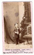 RARE CDV Photo - Henry Johnson - Genral Dot - NY Troy's Tom Thumb - Midget 1870s