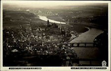 Meissen an der Elbe Sachsen Postkarte ~1930 Gesamtansicht Elbebrücken Luftbild