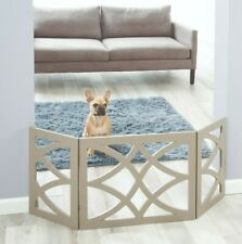 Safety Pet Gate for Dog Free-Standing Folding Decorative Wood Fence Barrier Gray