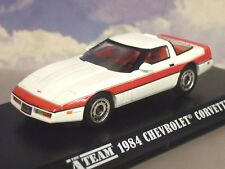 "GREENLIGHT 1/43 FACE'S 1984 CHEVROLET CHEVY CORVETTE C4 WHITE/RED ""THE A-TEAM"""