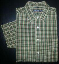 L Green Tan Peach Plaid NAUTICA S/S Casual Dress Shirt Green Logo! s2788