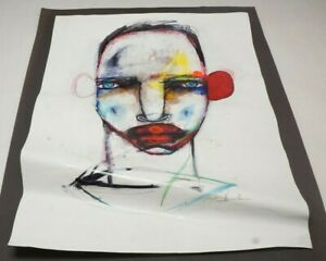 """Michael Banks Outsider Folk Art Abstract Man Face Signed 19x24.5"""" (H)"""