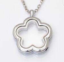 Living Memory Locket Necklace Pendant For Floating Charms UK Flower pendant