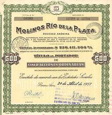 Argentina, Molinos Rio de la Plata, certificado de 5 acciones, Buenos Aires,1957