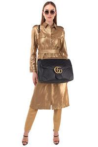 RRP€3255 GUCCI MARMONT Leather Satchel Bag Matelasse Chevron GG Logo Push Lock
