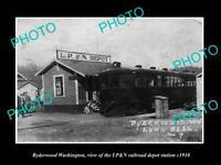 OLD 8x6 HISTORIC PHOTO OF RYDERWOOD WASHINGTON RAILROAD DEPOT STATION c1910