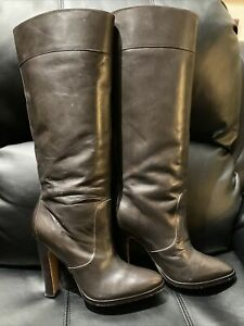 Michael Michael Kors Brown Leather Knee Ultra High Heel Boots Womens Size 10